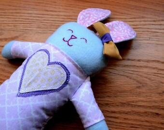 Pastel Heart Plush Bunny (Easter Bunny, newborn toy, rabbit, stuffed lovie, plush lovey, plushie, handmade gift, soft baby toy, Baby Shower)