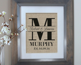 1st Anniversary Gift for Wife Gift to Husband Gift One Year Anniversary Family Name Sign Personalized Monogram Home Decor Burlap Print
