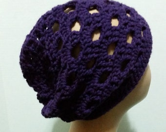 Handmade, crochet, purple, slouchy beanie hat, for women