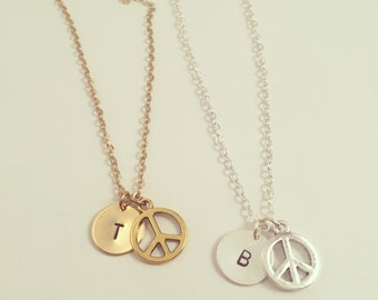 Peace Sign Necklace - Optional Extra Personalised Initial Disc - Available in gold or silver plated