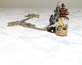 Life's a beach. Tiny message in a bottle pendant