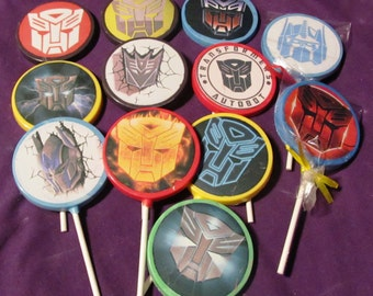 12 Transformers chocolate lollipops