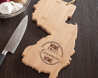 New Jersey State Shaped Cutting Board, Engraved New Jersey Shaped Cutting Board