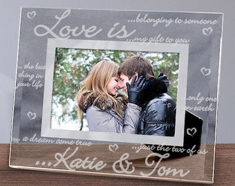 Engraved Love Is.. Glass Picture Frame, Personalized Couples Frame
