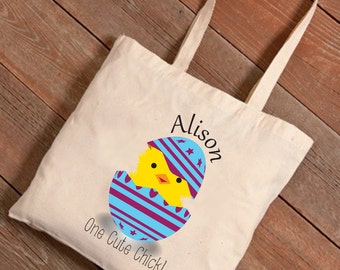 Personalized Easter Canvas Bag - Chick Designs , Easter Tote, Easter Egg Hunt Bag