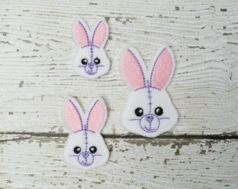 Sketch Bunny Feltie Set of 4 - Clippie Cover - Badge Reel Cover - Craft Supply - Scrapbooking - Card Making - Planner Clip