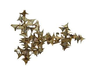 "50"" Vintage Mid Century Modern Brutalist Metal Wall Art Sculpture C Jere Style"
