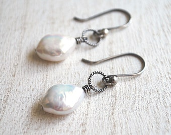 Teardrop Pearl Earrings, Oxidized Sterling Silver Freshwater Pearl Earrings, Rustic Pearl Earrings, Simple White Teardrop Pearl Earrings