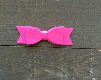 Shocking Pink Soft Felt Bow