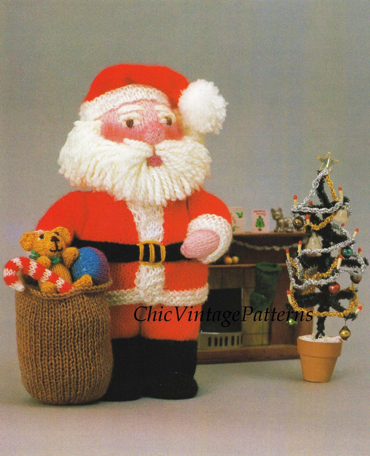 Knitted Santa ... Soft Toy Pattern ... by ChicVintagePatterns