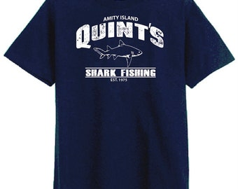 Quint's Shark Fishing Jaws Movie Vintage funny distressed Navy Blue t-shirt