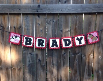 Farm Animal Name Banner | Farm Party Decor | Barnyard Animals Party Banner | Name Banner | Farm Party Decorations | Barnyard Decoration