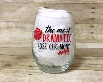 The Most Dramatic Rose Ceremony Ever! Funny Custom Bachelor Themed Stemless Wine Glass