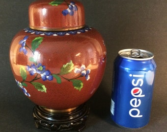 """Antique Chinese Cloisonné Ginger Jar Red with Flowers Wood Stand 6.5"""""""