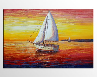 Canvas Art, Abstract Art, Sunrise Painting, Sail Boat, Wall Art, Canvas Painting, Oil Painting, Ship Painting, Abstract Painting, Large Art