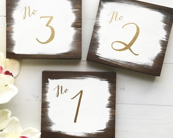 Table Number || Handprinted || Wedding Signage || Wood Sign || Reception Decor