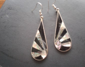 Alpaca Mexico Silver Long Abalone/Black Pierced Earrings-Retro