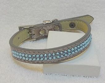 Blue Rhinestone Dog Collar, Swarovski Rhinestones Pet Collar, Silver Bling Dog Collar, Sparkling Dog Collar, Size Small
