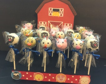 12 farm animal cake pops