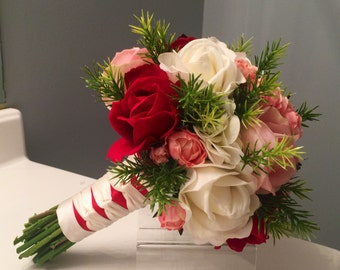 Blush Real Touch Rose Bouquet, Red Real Touch Rose Bridal Bouquet, Cream Rose Bouquet, Real Touch Rose, Bridal Bouquet, Greenery Bouquet, Tr