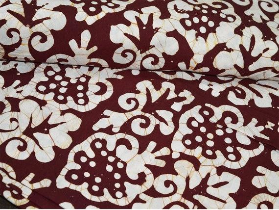 Dark Maroon Batik Print  Cotton Fabric Indian Cotton Fabric