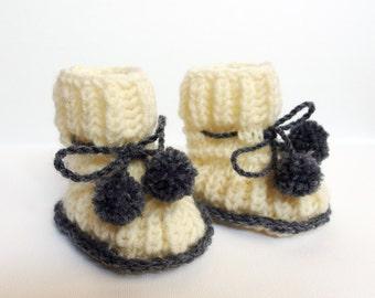 Baby booties, Baby Boots, Crochet Baby Booties Knitted Baby Booties Baby Shower Gift Knitted Baby Shoes Knit Baby Boots Booties That Stay on