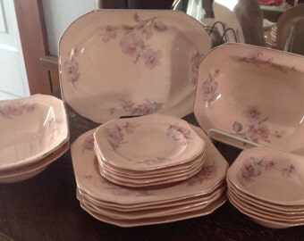 Taylor Smith One of a kind Shabby Chic Cottage Pink Dinnerware Set