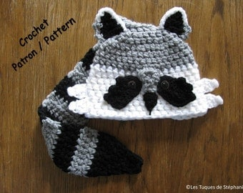 Crochet PATTERN raccoon hat, the tail is used scarf, easy to do, very cute and practical