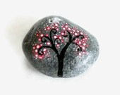 Cherry Blossom Art Painted Stone - Cherry Blossom Painting Hand Painted Rocks Tree Art Paperweight - River Rocks Nature Decor Pink and White