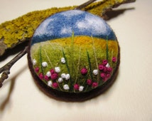 Needle felted brooch with embroidery,Wool felt brooch Flower brooch Felted jewelry Gift ideas for her Felted landscapes