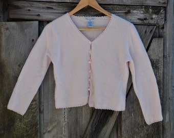 Dainty Pink Lambswool and Angora Sweater