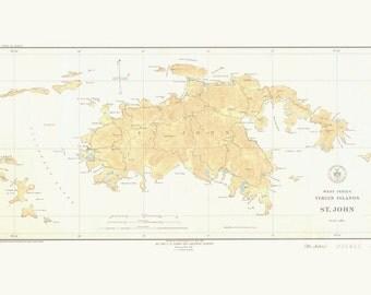 St. John Map - USVI Historical Chart 1934 (wholesale listing)