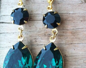 Swarovski tear drop earrings in Emerald Green and Jet Black