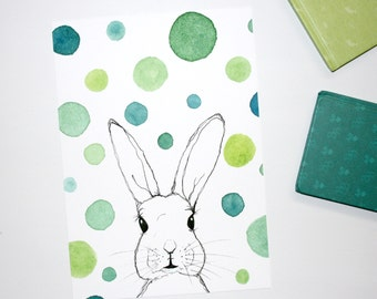 Bunny Rabbit Watercolour Print, Bunny Wall Art, Watercolour Rabbit Artwork, Nursery Bunny Print