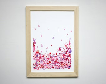 Watercolour Wall Art Print, Abstract Watercolour Artwork, Hand Painted Print, Colourful Leaves, Red and Pink Abstract Artwork