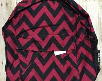 Personalized red and black Chevron Print Book Bag Monogram Canvas Book bag Personalized Backpack, Kids Backpack, Personalized Book bag