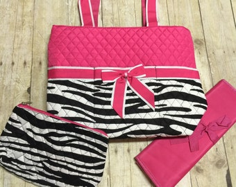 monogrammed diaper bag 3 piece set personalized black pink zebra diaper bag embroidered