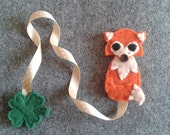 Bookmark with Fox, Ribbon and Clover - Felt bookmark - Handmade creation -