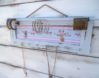 Jewelry Holder, Jewelry Organizer with 9 hooks, shabby chic frame