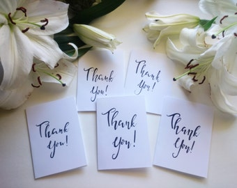 Set of  5 blank Thank You cards, blank cards, Thank You cards, Calligraphy