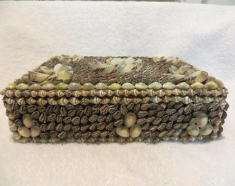 Early 20th C Shell Encrusted Jewelry Box