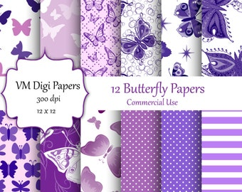 Purple Butterfies Digital Paper, Purple Butterflies, Purple butterflies digital, Digital Paper with butterflies, butterfly pattern in purple
