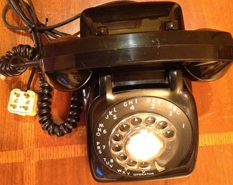 "Vintage ""Automatic Electric"" black rotary telephone; ""North Lake Illinois"""