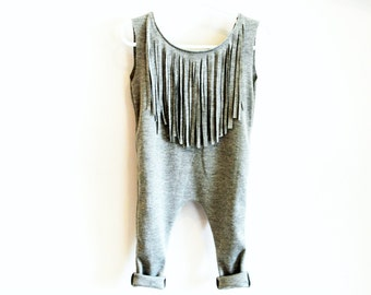 Fringe Tank Romper Sleeveless Cotton Baby/Toddler/Child Girl