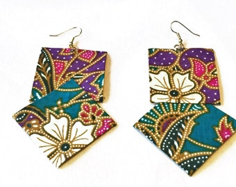 Malaysia-Fabric earrings-Handmade-Malaysian batik fabric-Unique statement jewelry-Fabric jewelry- Malaysian fabric earrings