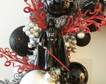 """Darth Vader Ornament Wreath 14"""" - The force is strong with this one!"""