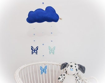 Mobile - cloud mobile - butterfly mobile - felt cloud mobile - felt butterfly mobile - blue cloud - child decor - handmade - READY NOW
