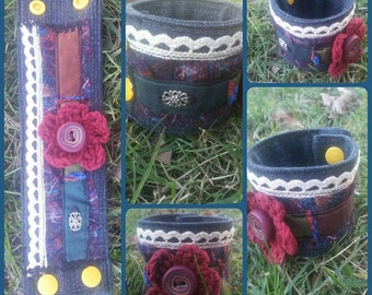 Flower cuff ~ jeans bracelet, cuff