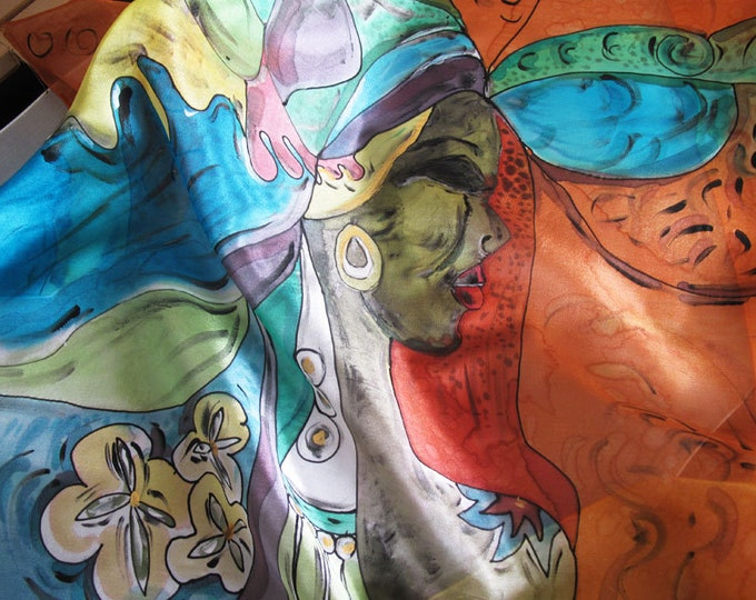 Natural Silk scarf hand painted. 75 x 75 cm .Exclusive. Orange, Green, Blue