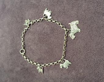 Sterling silver vintage scottie dog charm bracelet